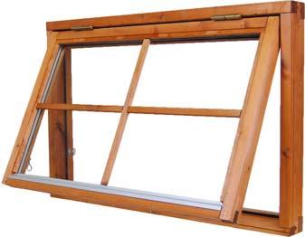 Fönster 322 Utåtgående, Överkantshängt eller sidohängt, isolerglas.